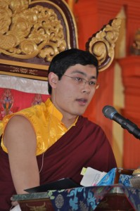 His Eminence Avikrita Rinpoche offering a dharma teaching at Sakya Monastery in February