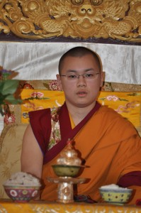 His Eminence Abhaya Rinpoche seated on the throne at Sakya Monastery in January