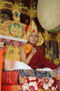 Asanga Rinpoche during his Vajrakilaya exam in Rajpur, India, in 2011