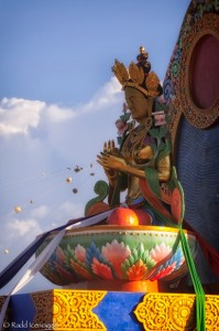 Prajnaparamita, at the center of the wheel, during the consecration of the garden