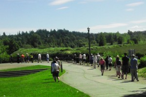 Alice Phalan from River Sangha leads a silent walking meditation through Riverfront Park