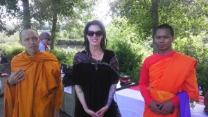 Phra T. Phuangmala of Wat Buddha in Turner, Ore.; Julia Chandler, member of Drukpa Mila Center-Salem; and Phra Kantigo of Wat Chana Songkram Temple in Bangkok, Thailand