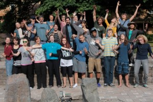 Teens, staff, and teachers on the final day of Teen Retreat