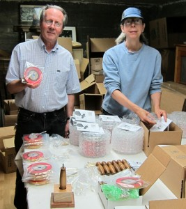 Chuck Pettis and Carol Day packing prayer wheels for shipping
