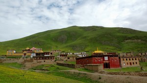 The buildings at Kilung Monastery spread across the nearby hills