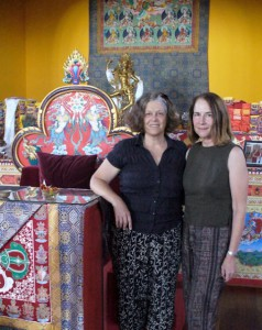 Judith (on left) with dakini sister in the Tara Temple at Tara Mandala, after Judith's 2012 interview with LamaTsultrim Allione.