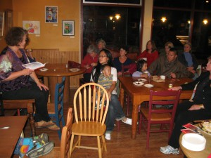 Book launch party at Grateful Bread Bakery in Seattle, fall, 2012.