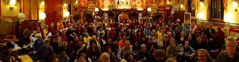 People coming to receive Garchen Rinpoche's blessings filled the main shrine room at Sakya Monastery.