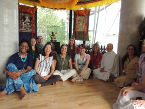 The dancers gather with Mae Chee (in white) in Thailand, in her Tara room.