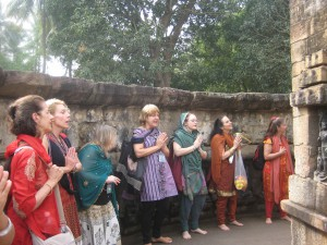 Dancing at Hirapur, the Temple of the 64 Yoginis in Orissa.