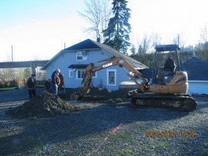 Excavation starts at the site for the center's new dharma hall, in Tukwila northeast of the intersection of I-5 and SR 218.
