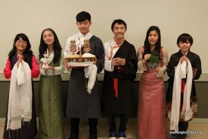 Tibetan children, from left to right, Zenden Nhangkar, Tenzin Yangchen, Lobsang Tsatultsang, Dhundup Dorjee, Tenzin Tsephell Choegyal and Rinzin Grady Short, from the Tibetan Language & Culture Class.