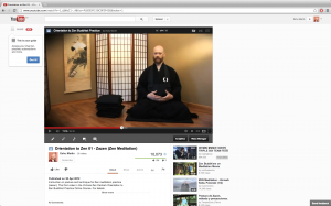 Eshu Martin demonstrates zazen, seated meditation, online.