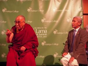 His Holiness the Dalai Lama and his long-term translator, Thubten Jinpa