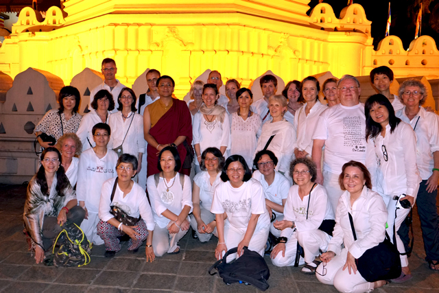 Dzogchen Ponlop Rinpoche and the Nalandabodhi sangha members before the Temple of the Tooth in Kandy, Sri Lanka