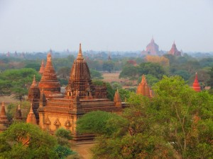 View from Shwesanda Pagoda in Bagan, Burma