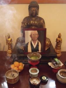 A shrine to Ven. Genki Takabayashi, who died Feb. 24