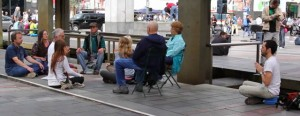 Some passersby joined the group of meditators, as they spread peace throughout the area