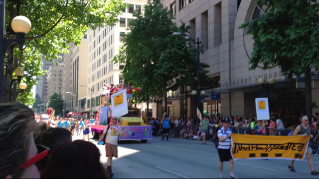 Gay Buddhists proudly carried the Dharma Buddies banner during Seattle Gay Pride parade