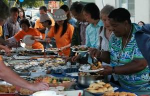 People enjoyed the generous and varied food offerings