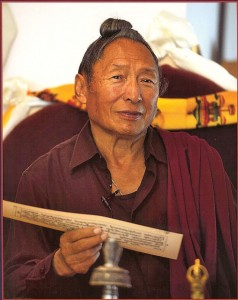 Ven. Lama Tharchin Rinpoche, the senior founding director of Saraha Nyingma Buddhist Institute, who passed away on July 22, 2013, only four days prior to the start of the Maitreya Heart Shrine Relic Tour exhibit at Saraha Nyingma Buddhist Institute