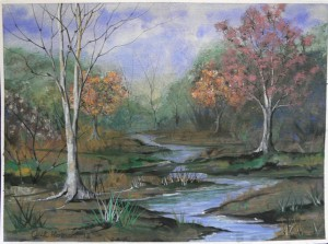 Jack Hannah had been in the art class offered at WSRU for only a few months when he painted this landscape