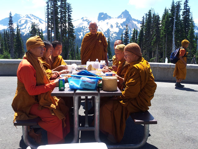 The monks shared their mid-day meal, at tables outside the Mt. Rainier visitor's center