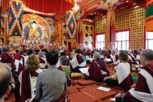 Thrangu Rinpoche giving teachings on Nagarjuna's text, the Fundamental Treatise of the Middle Way