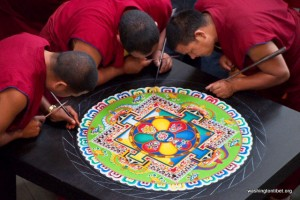 Monks from Drepung Loseling Monastery in India created a sand mandala at Tibet Fest in 2012