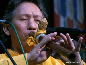 Nawang Kechog, a Tibetan flute player and composer performing