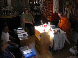 Students receive teachings at Losang Tsering's gonpa in Seattle