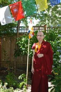 Losang Tenzin Tsering in his back yard in Seattle