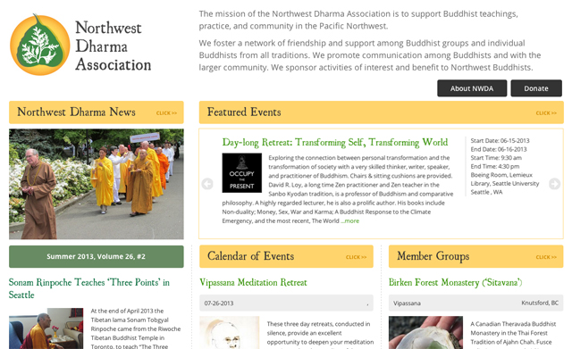 2013 Northwest Dharma Association Redesign will launch in October of 2013