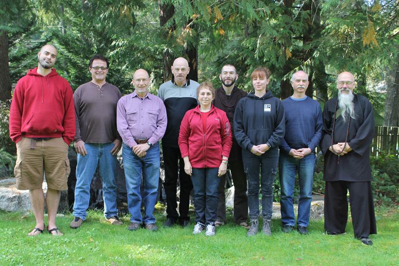 The board of Northwest Dharma Association, left to right: Damien Abel, Tim Tapping, Joe Pearl, Timothy, Jacqueline Mandel, Jeff Hadashi Miles, Elizabeth Sikes, Paul Gerhards,Koro Kaisan Miles.
