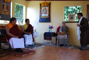 Sakya Trizin and Geshe Jamyang, together in the new space