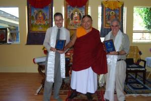 Sakya Trizin, center, flanked by Bob Saunders, left, and Jan Vleck, Nalanda treasurer, right