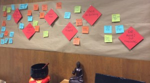 A timeline of events and tasks runs across the wall of Sakula's temporary office in Southeast Portland