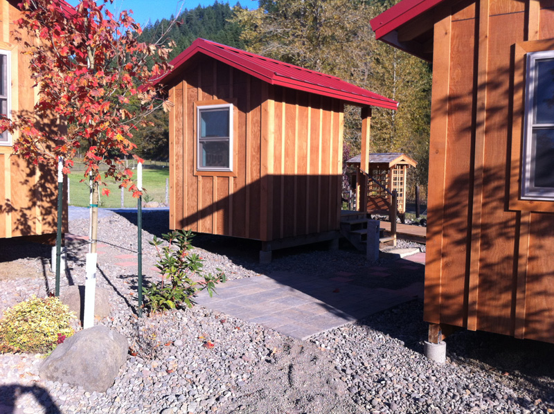 Six huts are already completed, ready for practitioners' use.
