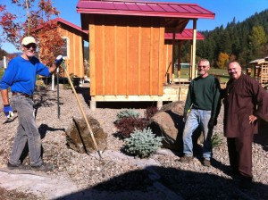 Chuck Foster, Dave Hanken, and teacher Ron Zimmerman, working on the Mt. Adams temple grounds