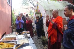 Lama Wangdu and Prajwal bless the delicious and abundant Newar food display