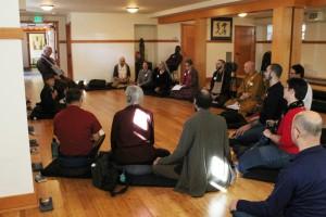 The teachers gathered outside the Dai Bai Zan Cho Bo Zen Ji (Choboji) Zen temple in Seattle