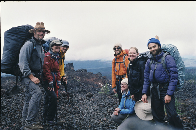 The group near Opie Dilldock Pass. From left to right, Bob Penny, Lesli Dalaba, Matthew Mihlon, Jaren Hoppe-Leonard, Emily Buck, Georgia Mitchell, Sergey Feldman.