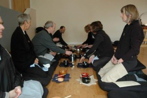 A formal oryoki-style meal during a recent retreat with the Red Cedar Zen Community, at their meditation hall in Bellingham, Wash.