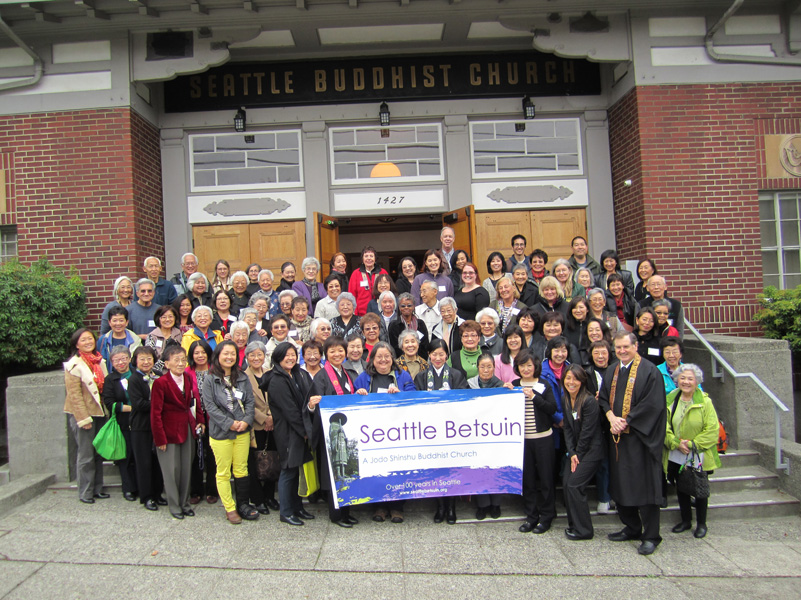 Presenters and attendees of the conference, gathered in front of Seattle Betsuin Buddhist Temple in Seattle