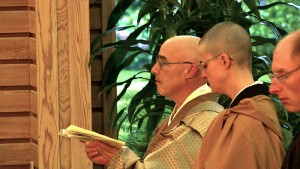 Genjo Marinello Osho, Rev. Kojun Hull and Rev. Daitetsu Hull, lead the Osho Ceremony