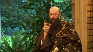 Kosen Eshu Osho, also known as Eshu Martin, gives a dharma talk during the Osho ceremony.