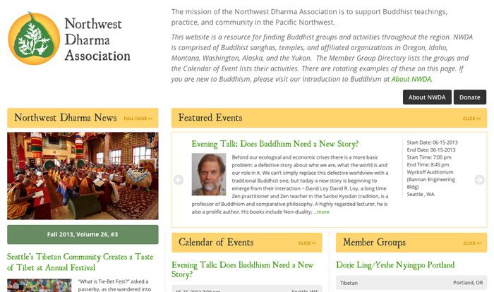 New NWDA home page