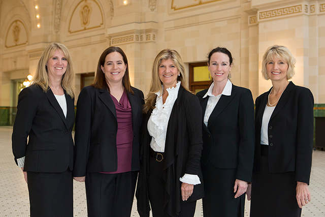 The partners at Integrative Family Law: Left to right, Sharon Friedrich, Paige Haley, Carol Bailey, Jennifer Forquer and Lisa DuFour