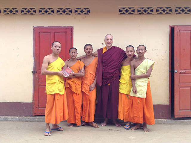 Jampal Gyatso, also known as Clark Hansen, was welcomed by a group of young monks at a monastery in Luang Prabang, Laos