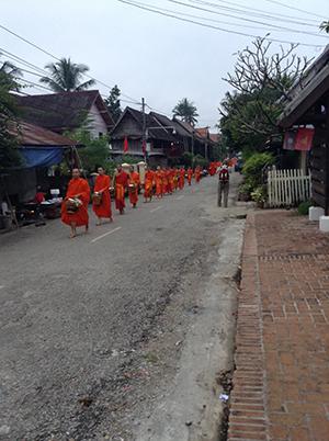 Monks on alms round, Luang Prabang, Laos